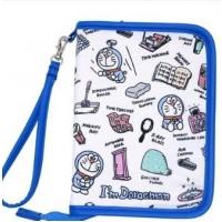 [母子手帳] Doraemon 手繪畫款 藍/白色 拉鏈型