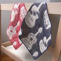 OVLOV 日本製 6重紗結他圖案小手帕 25 x 25 cm