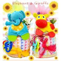 大象 長頸鹿  2層蛋糕造型BABY GIFT SET