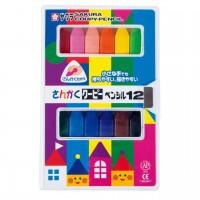 <日本製> 三角形彩色臘筆 12色