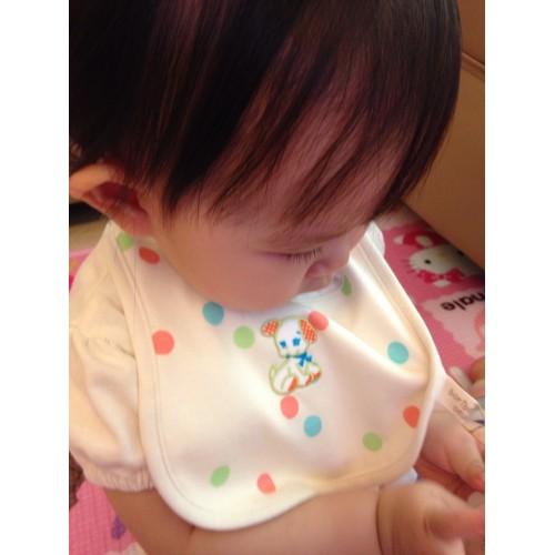 日本制 初生兒 有機綿 米色狗狗口水肩