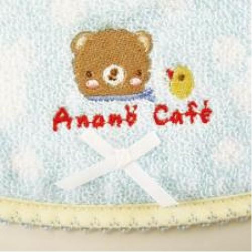 Anano cafe 今治産水玉點點 Bear 口水肩  藍色